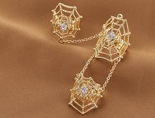 個性金屬鑲鑽蜘蛛網雙指戒指 歐美時尚熱銷系列 連指戒指ring