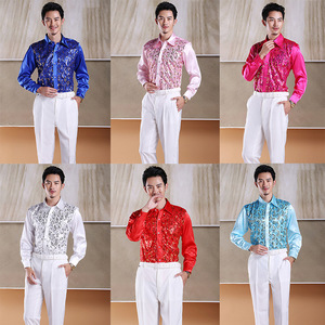 men's jazz dance suit blazers Men colorful sequins long sleeve shirt performance costume studio stage male dress student red song chorus singer