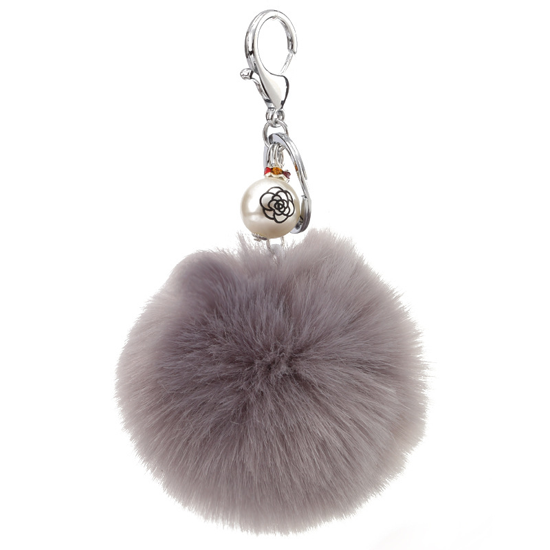 Fur accessories beads pendant imitation rabbit hair ball keychain NHMM148363