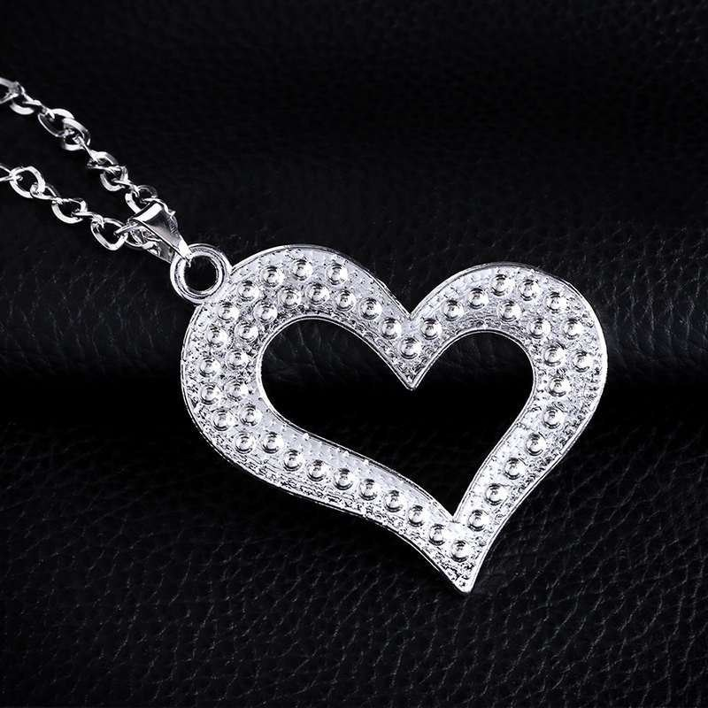 Womens heart-shaped rhinestone alloy Hollow love necklace  NHAS120936