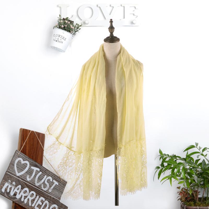 气质女人味蕾丝披肩 复古百搭棉麻蕾丝拼接围巾 遮阳防晒多用
