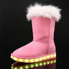 贝贝侠新款儿童棉靴中大童长筒靴加毛led发光靴子USB充电夜光棉鞋