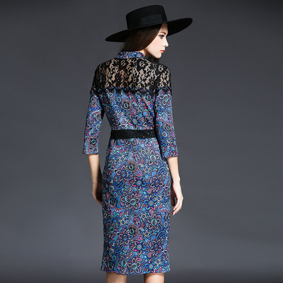 Europe station 2016 Hitz European and American fashion complex Gulei Si stitching print dress Slim package hip skirt bottoming