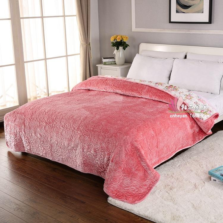 浦江厂家直销 法兰绒玫瑰刺绣毛毯 韩国保暖毛毯  加厚绗缝毯子