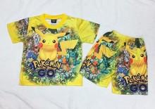 寶可夢比卡丘神奇寶貝Pokemon Go同款卡通兒童夏季套裝T恤短褲