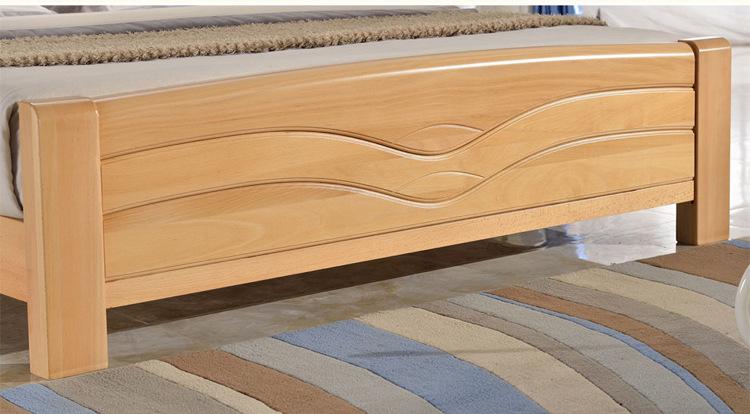 新品简约榉木床实木家具床头柜双人床1.8米 卧室家具 家具定制