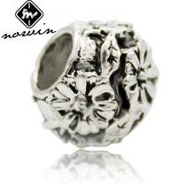 歐美DIY飾品配件鍍銀珠批發珠子5mm 合金大孔珠花朵樹葉 HJ060