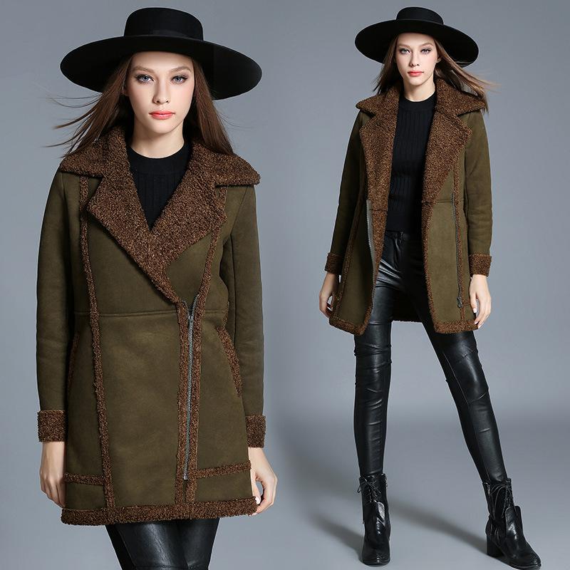 高档欧美加肥加大码女装胖MM鹿皮绒羊羔绒大衣中长款加绒加厚棉衣