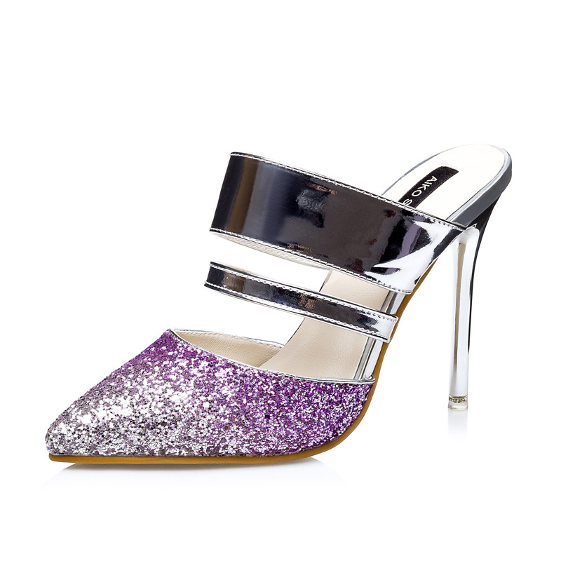 pointed nightclub sexy show thin sandals color matching sequined ultra fine with OL professional's main photo