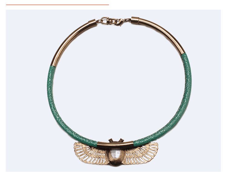 Alloy Fashion Geometric necklace  (Ancient alloy + green) NHTF0137-Ancient-alloy-green