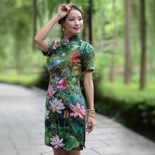 古绣朵尔新款女士旗袍棉麻复古文艺风短袖短款旗袍改良唐装