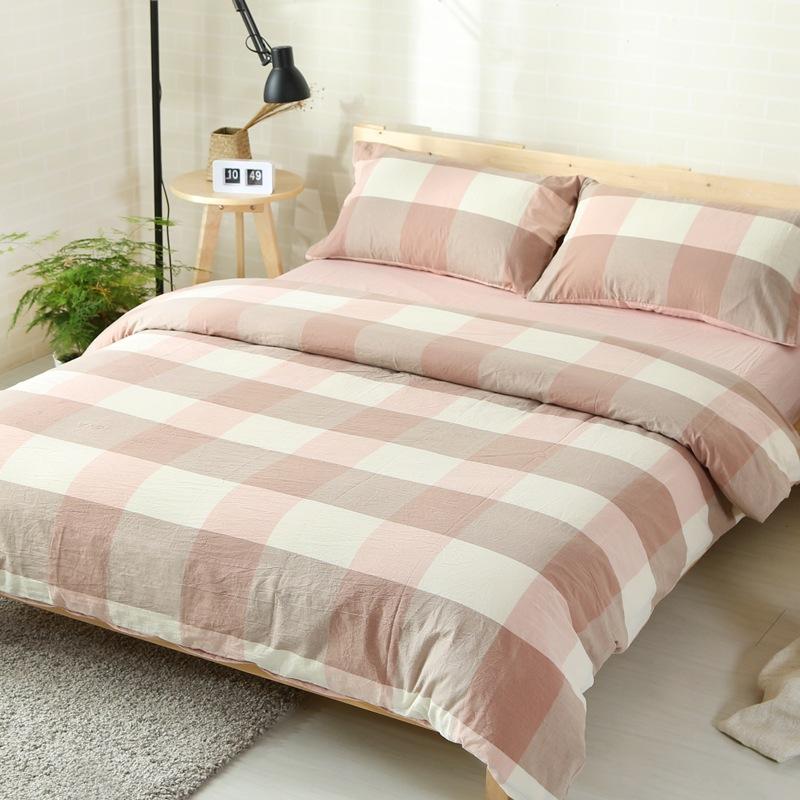 水洗棉四件套日系风格格子纯棉被套床单床上用品床笠款厂家直销