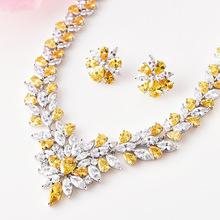 外贸爆款韩版新娘珠宝套装项链冰花满钻3AAA锆石饰品厂家直销批发