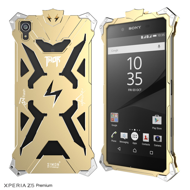 SIMON THOR Aviation Aluminum Alloy Shockproof Armor Metal Case Cover for Sony Xperia Z5 Premium | Z5 Compact | Z5