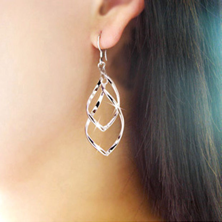 Twisted diamond multi-layer Earrings double ring ladies ol classic fashion super shiny alloy earrings wholesale