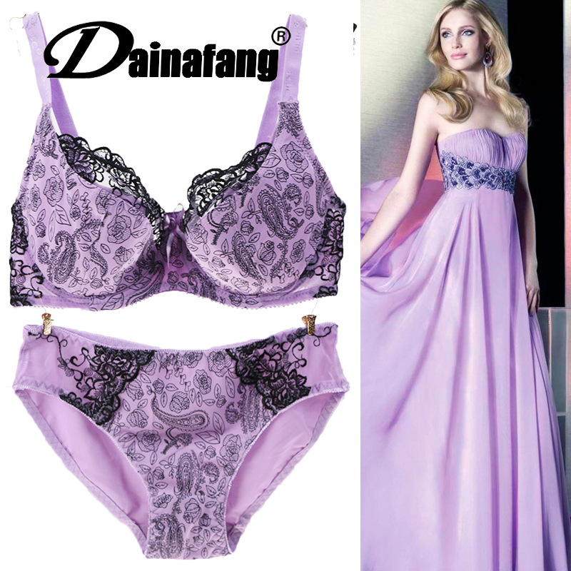 31b755c0cb Bra   Panties Bra Set 40 42 44 46 D Women Full Cup Push Up Lace ...