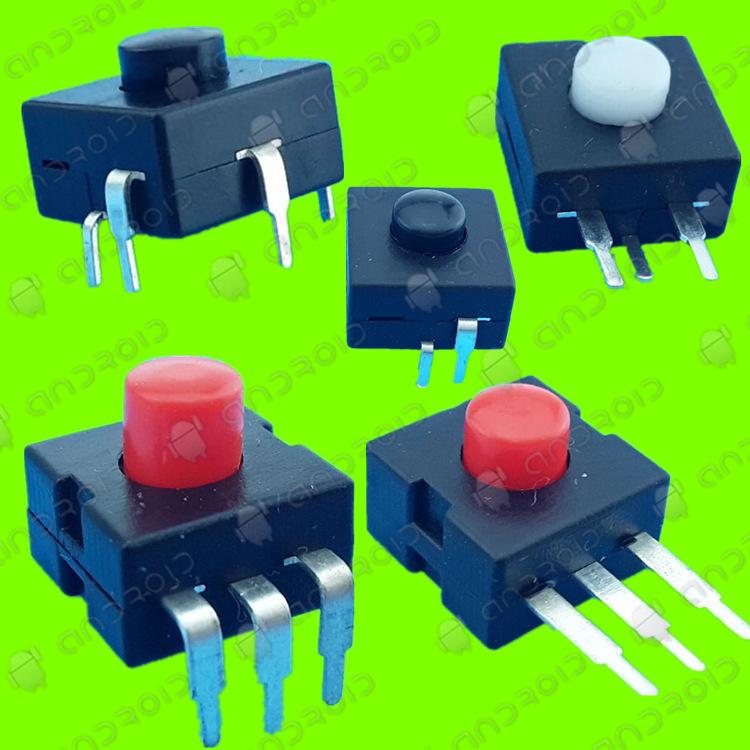 侧按自锁开关 3脚 两开一关 宽12长12 高8.6MM 按键按钮手