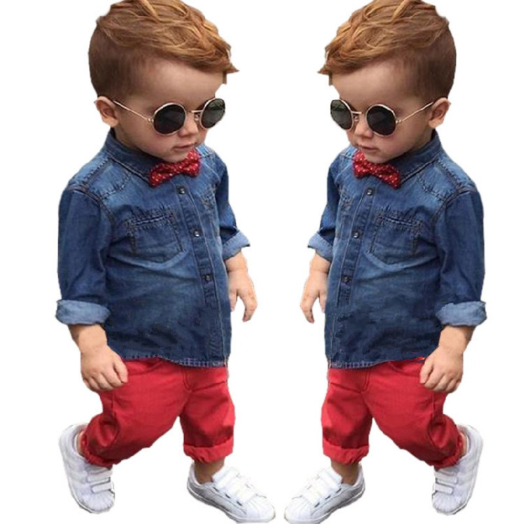 489d473e8 2PCS Toddler Kids Baby Boys Outfits Denim Shirt Tops +Red Pants Kids ...