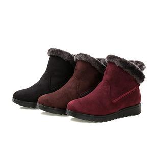冬季新款老北京布鞋女保暖老人雪地靴大码棉靴中老年棉鞋一件代发