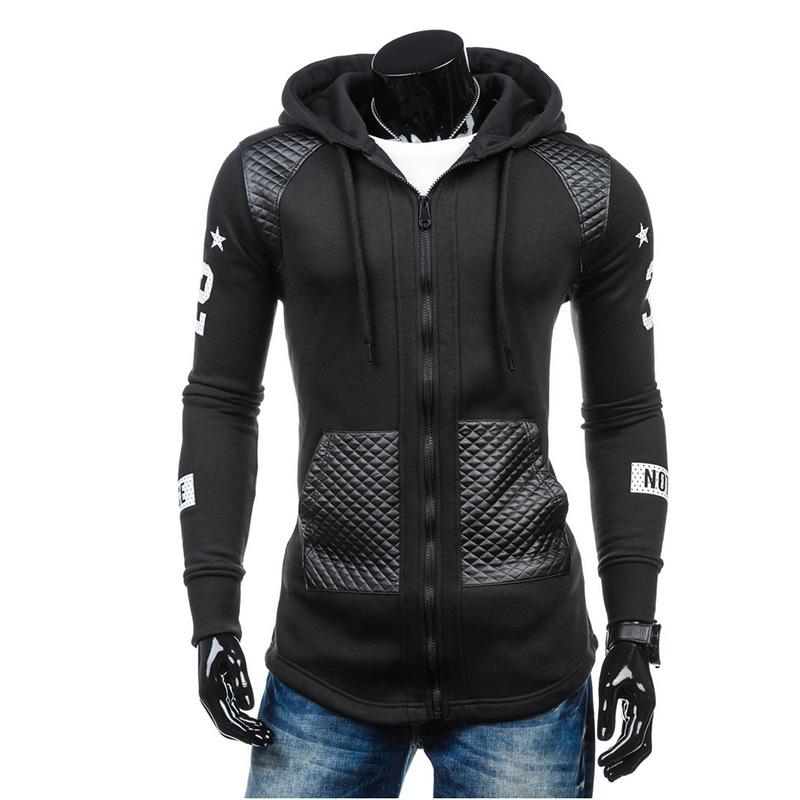 速卖通ebay夏季爆款 男士印花拉链外套 拼皮口袋时尚修身连帽卫衣