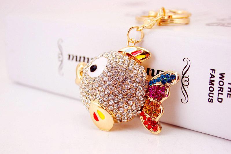 Creative diamond-studded tropical cartoon fish car key chain  NHAK266944