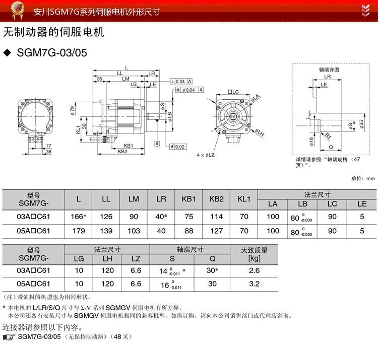 5-SGM7A系列伺服电机外形尺寸1