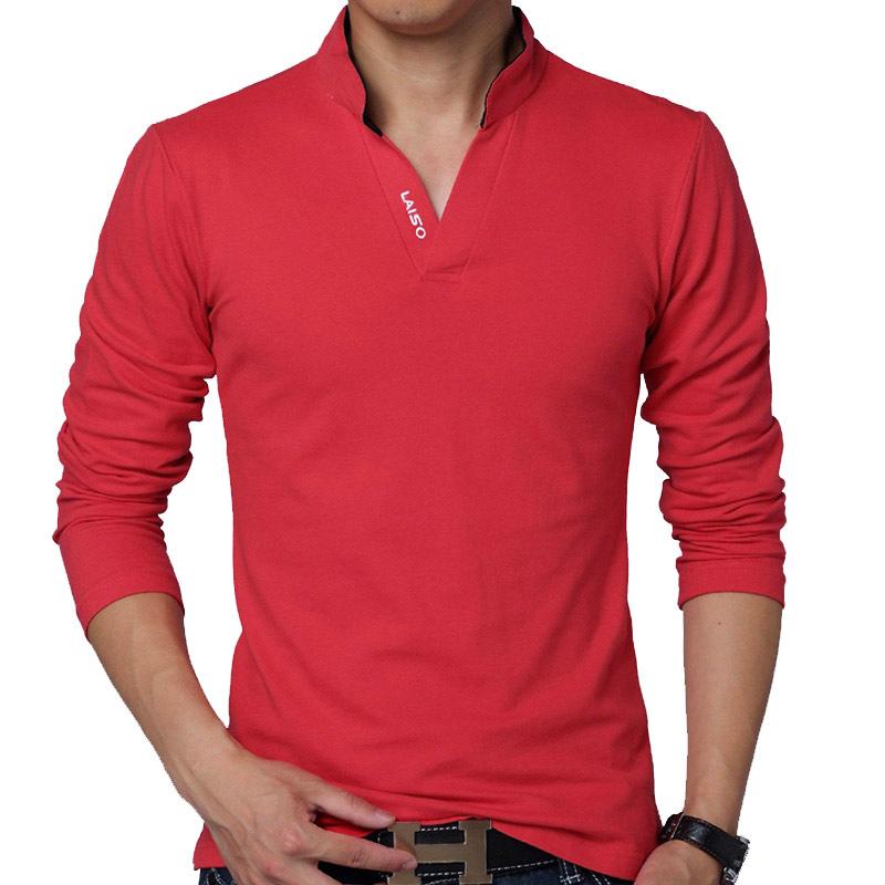 2020外贸 跨境男士长袖V领T恤 春秋装新款领口印花青年polo衫