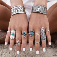 欧美外贸饰品 波西米亚食指戒指 宽版复古雕花几何图腾九件套指环