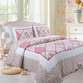 Cotton hand-stitched quilting is a three-piece set of air-conditioning bedding in summer Bed cover