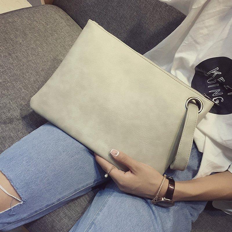韩国新款手抓包简约复古女士手包时尚日韩大容量手拿包拉链信封包