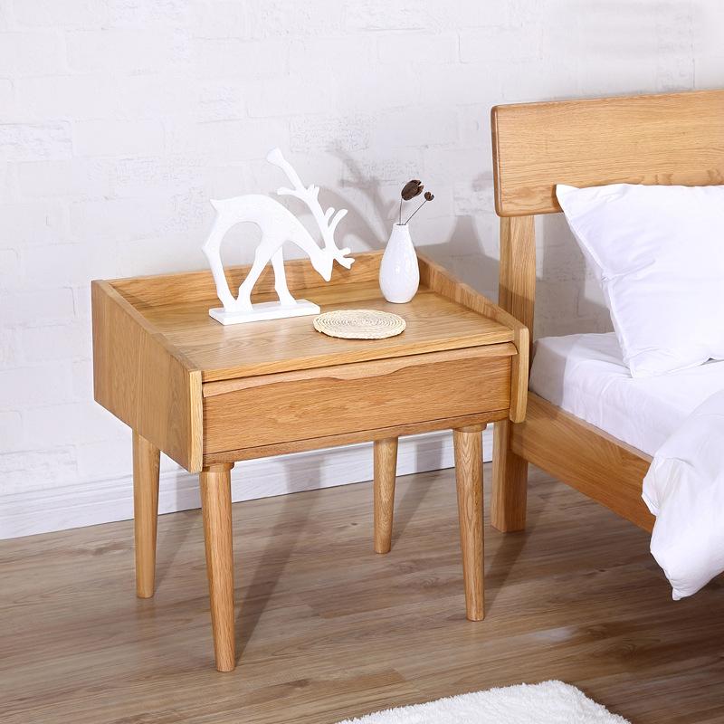 益荣木业日式家具橡木床头柜简约时尚原木贡桌 小型床头柜