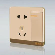 一键断电无需插拔 新款苹果金一开双控带五孔插座墙体电源10A面板