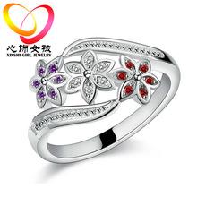 戒指女款韓版時尚彩寶尾戒鑲鉆指環廠家貨源手飾品