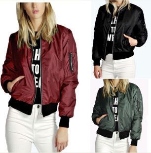 European and American cross-border Amazon 2020 European and American autumn and winter new solid color fashion zipper jacket jacket women jacket