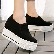 秋冬新款内增高9.0cm休闲鞋帆布女单鞋一脚蹬女鞋一件代发