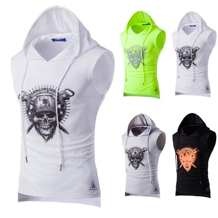 2020 European and American men's print breathable sweat vest men's mesh hooded sports vest B11