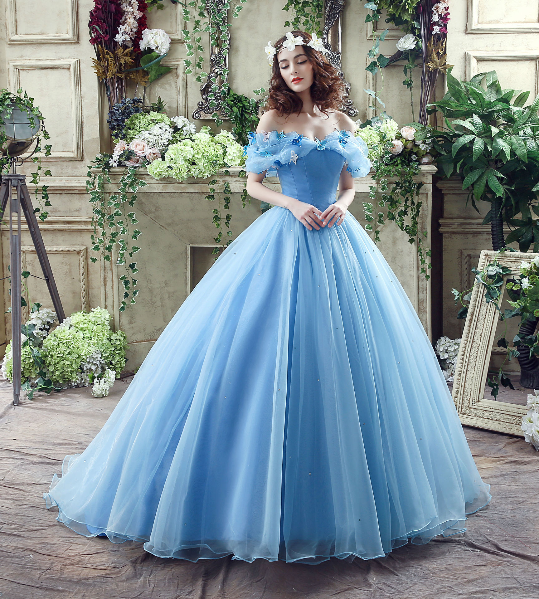 Details about Wedding Dresses Blue Cinderella