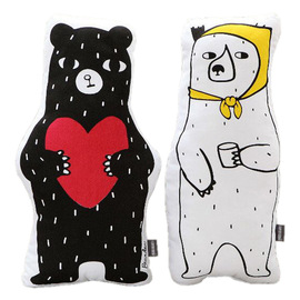 New ins Nordic style pillow black and white bear plush toy doll children's room decoration photo back
