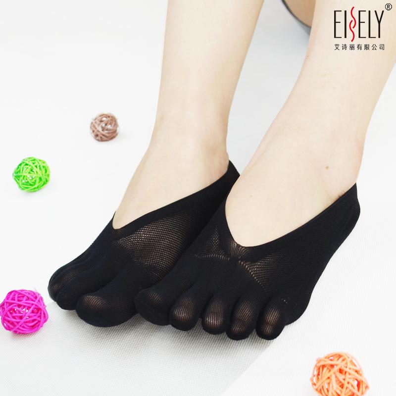 夏季超短点胶分趾袜 女士超薄款浅口隐形船袜 厂家批发五指袜船袜