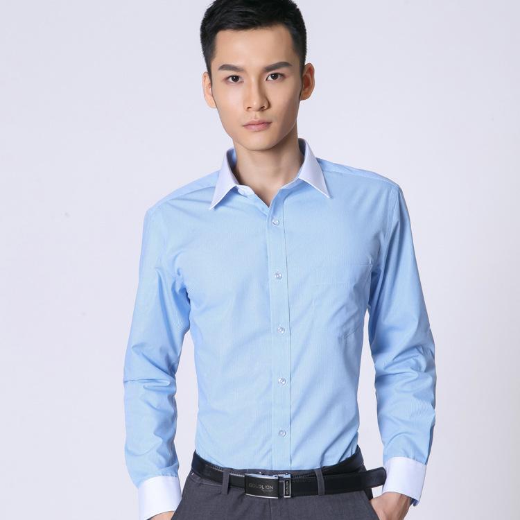 新款秋季高档休闲男士衬衫 修身免烫条纹白领男装衬衣长袖批发