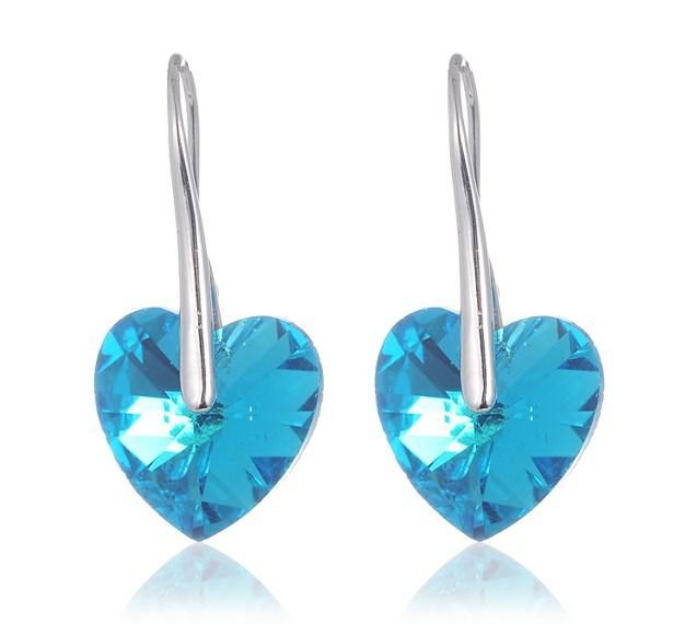 防过敏耳环 水晶耳坠 海洋之心蓝光水晶耳饰 女 韩版饰品