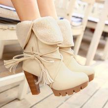 2019冬季新款粗跟雪地靴休闲蝴蝶结高跟短靴外贸大码女靴一件代发