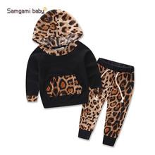 欧美外贸童装原单 秋季套装女宝宝衣服豹纹女童两件套婴幼儿服装