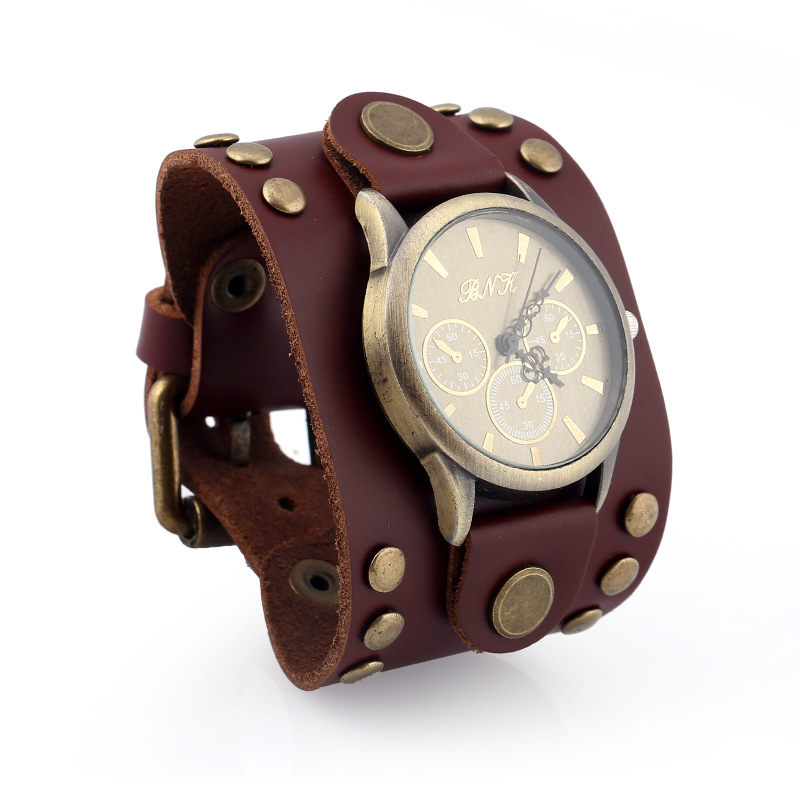 Punk vintage leather bracelet watch NHPK191609