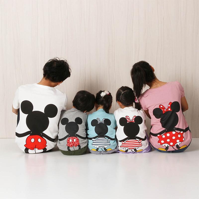 一件代发2019爆款米妮一家三口四口纯棉短袖T恤亲子装家庭装