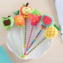 1220韓國文具 可愛水果毛球中性筆 毛絨蓬蓬筆創意水筆學生用品