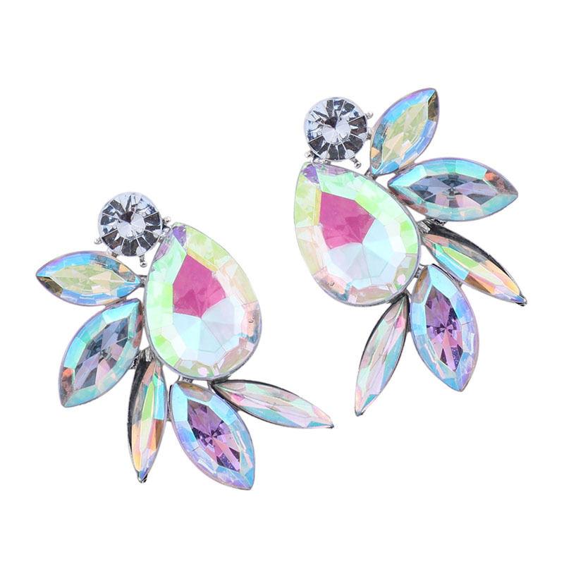 Occident and the United States alloy Rhinestone earring (Colorful) NHJQ7176