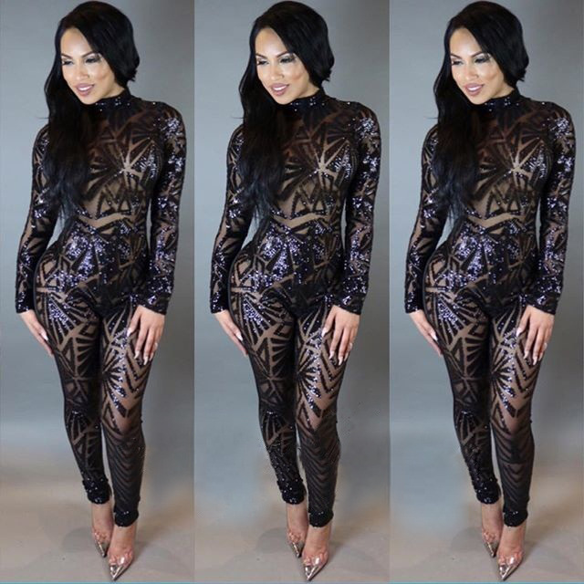 941806916734 Details about Sexy Women 2Piece Set Sequin Long Sleeve Top and Pant Party  Clubwear Jumpsuit