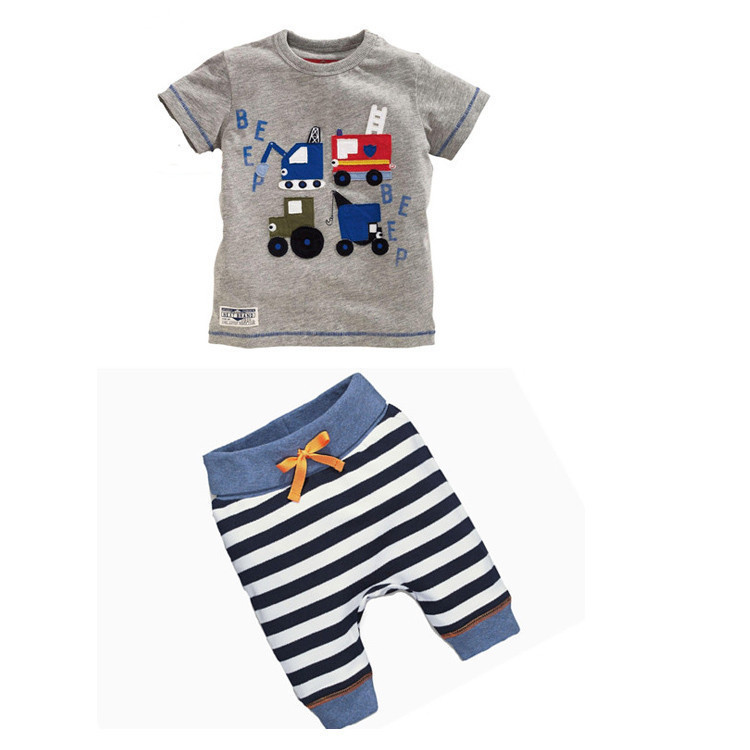 2PCS Toddler Kids Baby Boys Striped T shirt Short-Sleeved Pants Clothes Set