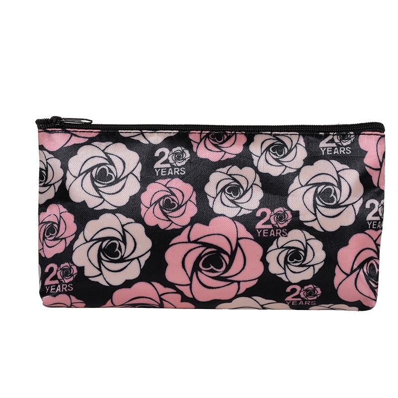 玫琳凯玫瑰印花化妆包 拉链包防水洗漱收纳包 手拿零钱包定制赠品